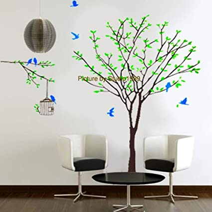 Amazon.com: Giant Tree with blue birds Mural Wall Stickers Home Art ...