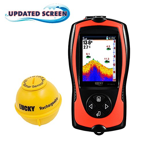 Lucky Portable Fish Finder Sonar Sensor 147 Feet Water Depth Sounder LCD Screen Echo Sounder Fishfinder With Fish Attractive Lamp For Ice Fishing