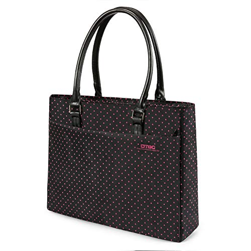 DTBG Laptop Tote Bag, 15.6 Inch Women Shoulder Bag Nylon Briefcase Casual Handbag Laptop Case for 15-15.15 Inch Tablet/Ultra-Book/MacBook/Chromebook (Black+Pink Dot) (Tote Laptop Ladies Shoulder)