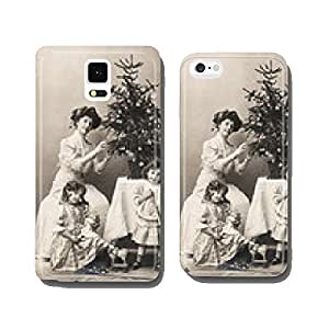 mother and children with christmas tree wearing vintage clothing cell phone cover case iPhone6 Plus