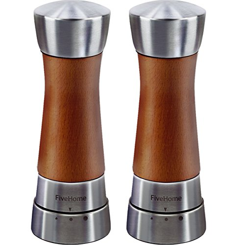 Plastic Salt And Pepper Mill (Wood Salt and Pepper Grinder Set, FiveHome Premium Salt and Pepper Shakers with Gift Box, Brushed Stainless Steel,Gourmet Precision Mechanisms)