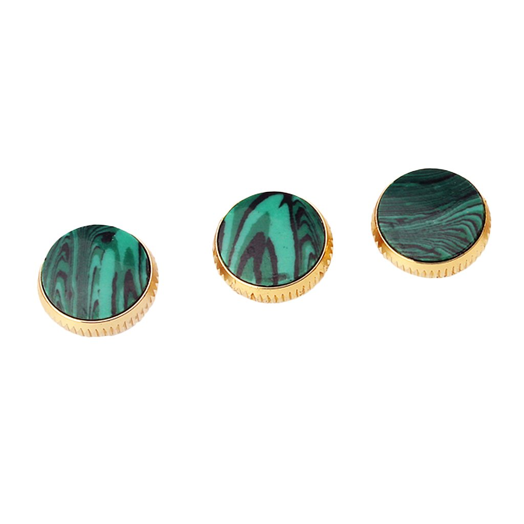 MonkeyJack Replacement Set of 3 Gold Plated Malachite Inlays Trumpet Finger Buttons