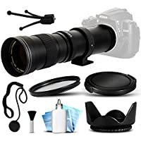 Opteka 420-800mm f/8.3 HD Telephoto Zoom Lens Bundle Package includes UV Ultra Violet Filter + Snap On Lens Cap + Tulip Hood + Cap Keeper + Lens Cleaning Kit for Canon EOS 5D Mark II III 2 3 5DM2 5DM3, 1D Mark 3 4 III IV 1Dx 1D X, Rebel SL1, T2i, T3, T3i, T4i, T5, T5i, 6D, 7D, 60D, 60Da, 70D, 100D, 550D, 600D, 650D, 700D, 1100D, 1200D, Kiss X4, X5, X6i, X7i, X50, X70 DSLR SLR Digital Camera