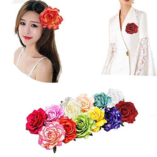 (12Pcs Elegant Large Rose Flower Hair Clips Floral Brooches Pin Rose Hair Accessories For Women Girls Lady Bridal)