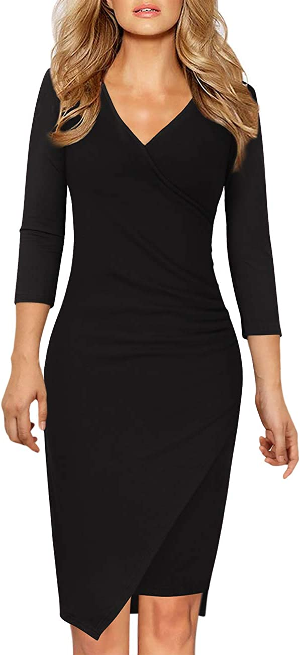 GlorySunshine Womens Classic 3//4 Sleeve V Neck Faux Wrap Ruched Midi Cocktail Bodycon Dress