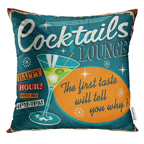 UPOOS Throw Pillow Cover 1950S Vintage Cocktails Metal Sign Bar 1960S Decorative Pillow Case Home Decor Square 18x18 Inches Pillowcase