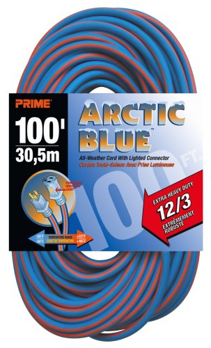 Prime LT530835 Extra Heavy Duty 100-Foot Artic Blue All-Weather TPE Extension Cord