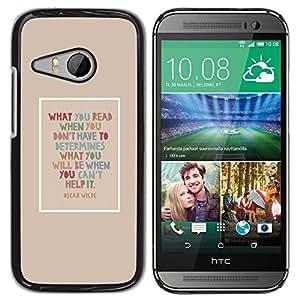 TopCaseStore / la caja del caucho duro de la cubierta de protección de la piel - Oscar Wilde Quote Read Books Smart - HTC ONE MINI 2 / M8 MINI