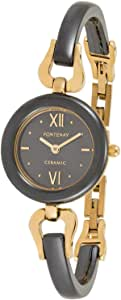 Fontenay Women's Black Dial Ceramic and Yellow Gold Plated Band Watch- 396QCYGCN