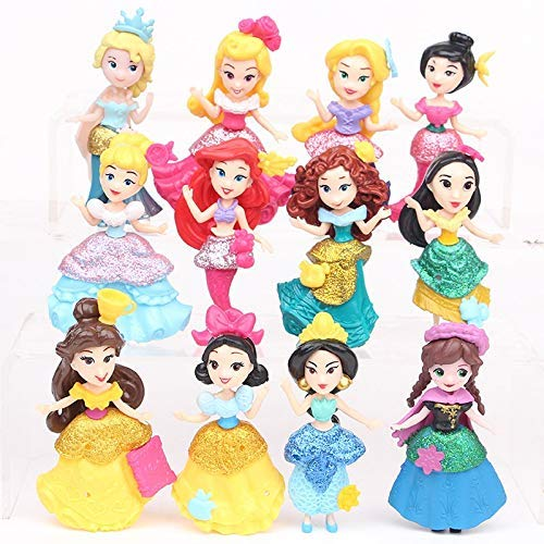 12 pcs Princess Snow White, Cinderella, Aurora, Alice, Ariel, Belle, Mulan, Merida 7 cms Action Figure Set (B07Y6FTBJB) Amazon Price History, Amazon Price Tracker