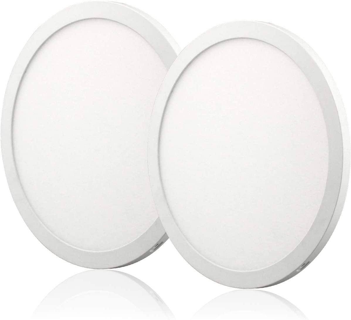 2PK 10inch LED Flush Mount Ceiling Light 24W 5000K CRI90 Dimmable Round Panel Light LED Recessed Light No Flicker for Closet Room, Stairs, Office, Basement