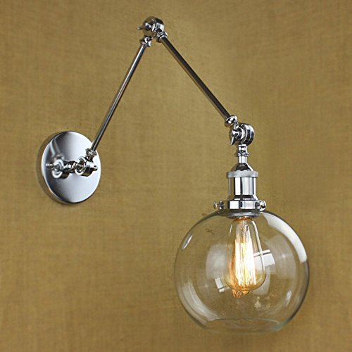 Glass Swing Arm Lamp (NIUYAO Vintage Industrial 1-light Wall Lighting with Round Clear Glass Shade Adjustable Swing Arm Retro Style Antique Bedside Wall Lamp Decor Lighting Fixture Wall Sconces,Brushed Chrome Finish)