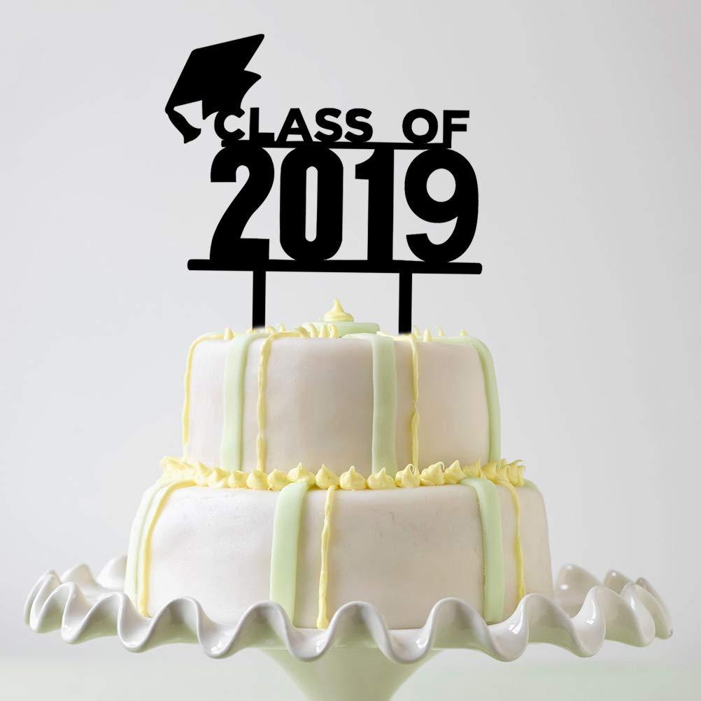 Amosfun Acrylic Graduation Cap Class of 2019 Graduation Cake Topper Graduation Party Cake Decoration Party Supplies
