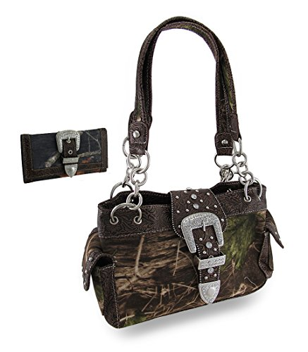 Things2die4 Nylon Womens Shoulder Handbags Camouflage Rhinestone Western Buckle Purse/Wallet Set Coffee Trim 13 X 8 X 4.5 Inches Coffee