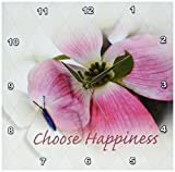 3dRose dpp_57185_1 Dogwood and Butterfly Inspirational Choose Happiness Quotes Flowers Wall Clock, 10 by 10-Inch For Sale