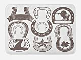 Lunarable Horseshoe Bath Mat, Horseshoe Collection Spirituality Plant Symbolism Belief Faith Clip Star Print, Plush Bathroom Decor Mat with Non Slip Backing, 29.5 W X 17.5 W Inches, Taupe Beige