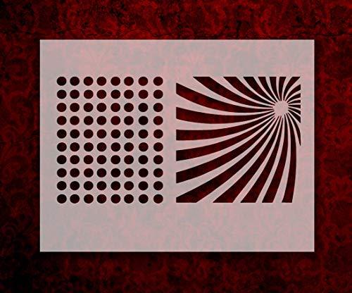 """Dots Pattern Sun Rays 8.5"""" x 11"""" Stencil FAST FREE SHIPPING (617)"""