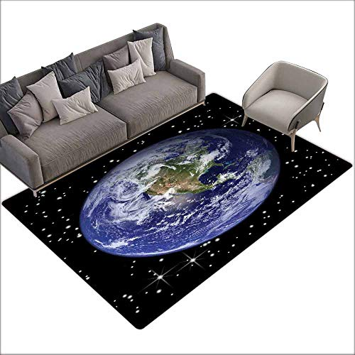 Kitchen Doormat Earth,North America Stars and The Moon from an Astronaut Eye Galaxy Outer Space Theme,Black Blue Green 80