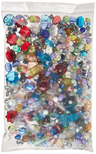 Beads Assorted Glass Medium (Linpeng Mixed Glass Beads, 1.5 lb Pack (with FREE spacers and charms))