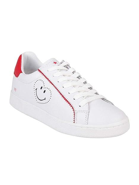 Trussardi Jeans 79A00133 Bianco Rosa e Bianco Rosso Sneakers Donna Scarpa  Sportiva (37 8a42f634cc5