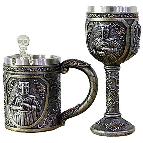 (Viking Warrior Skull Mug Goblet Spoon Set of 3 Stainless Steel Coffee Cup Spoon Cool Beer Stein Tankard Funny Coffee Mug Novelty Coffee Cup Big Beer Mug Bar Cup for)