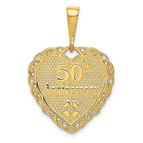 14k Yellow Gold 50th Anniversary Pendant Charm Necklace Special Day Fine Jewelry Gifts For Women For Her