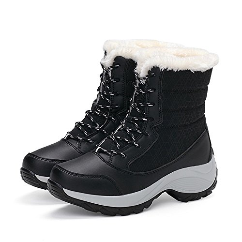 UONQD Women's Winter Boots Plush Outdoor Work Shoes Warm Ankle Snow Boots BK/39(US:7,Black)