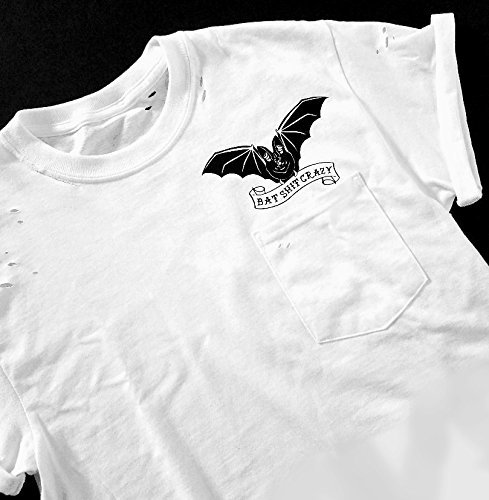 Bat Sh*t Crazy, Halloween, Distressed Tee, Bat Shirt, Distressed Shirt, Pocket Tee, Crazy, Funny Halloween Tee, Punk Shirt, Bat, Psychobilly -