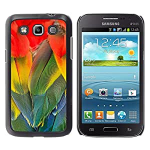 Qstar Arte & diseño plástico duro Fundas Cover Cubre Hard Case Cover para Samsung Galaxy Win / I8550 / I8552 / Grand Quattro ( Parrot Feathers Rainbow Colorful Bird)