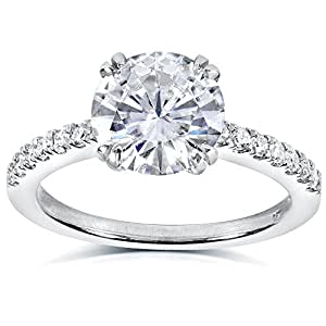 Round-cut Moissanite & Diamond Engagement Ring 2 1/10 Carat (ctw) in 14k White Gold