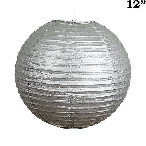 BalsaCircle-12-pcs-Silver-12-Inch-tall-Paper-Shades-Lanterns-Lamp-Wedding-Event-Birthday-Party-Room-Home-Decorations-Supplies