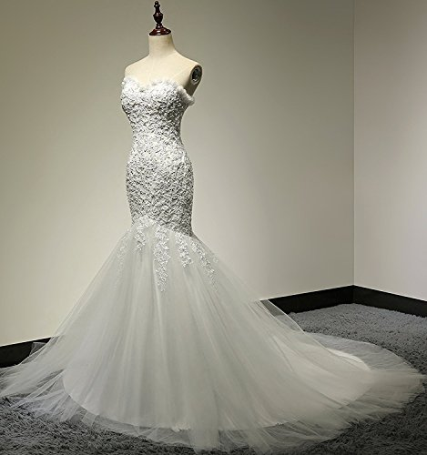Plus Size Wedding Dresses Rugby : Lace wedding dress mermaid sweetheart bridal gown us plusivory