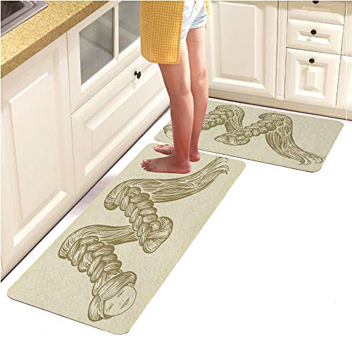 Kitchen Mat,Decorative Non-Slip Microfiber Doormat Bathroom Mats Rugs,Font Women s Hairstyles The Letter M Monochrome Engraving (18
