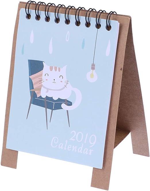 YeahiBaby Calendarios de Mesa 2019 Fresh Cartoon Animals Series ...