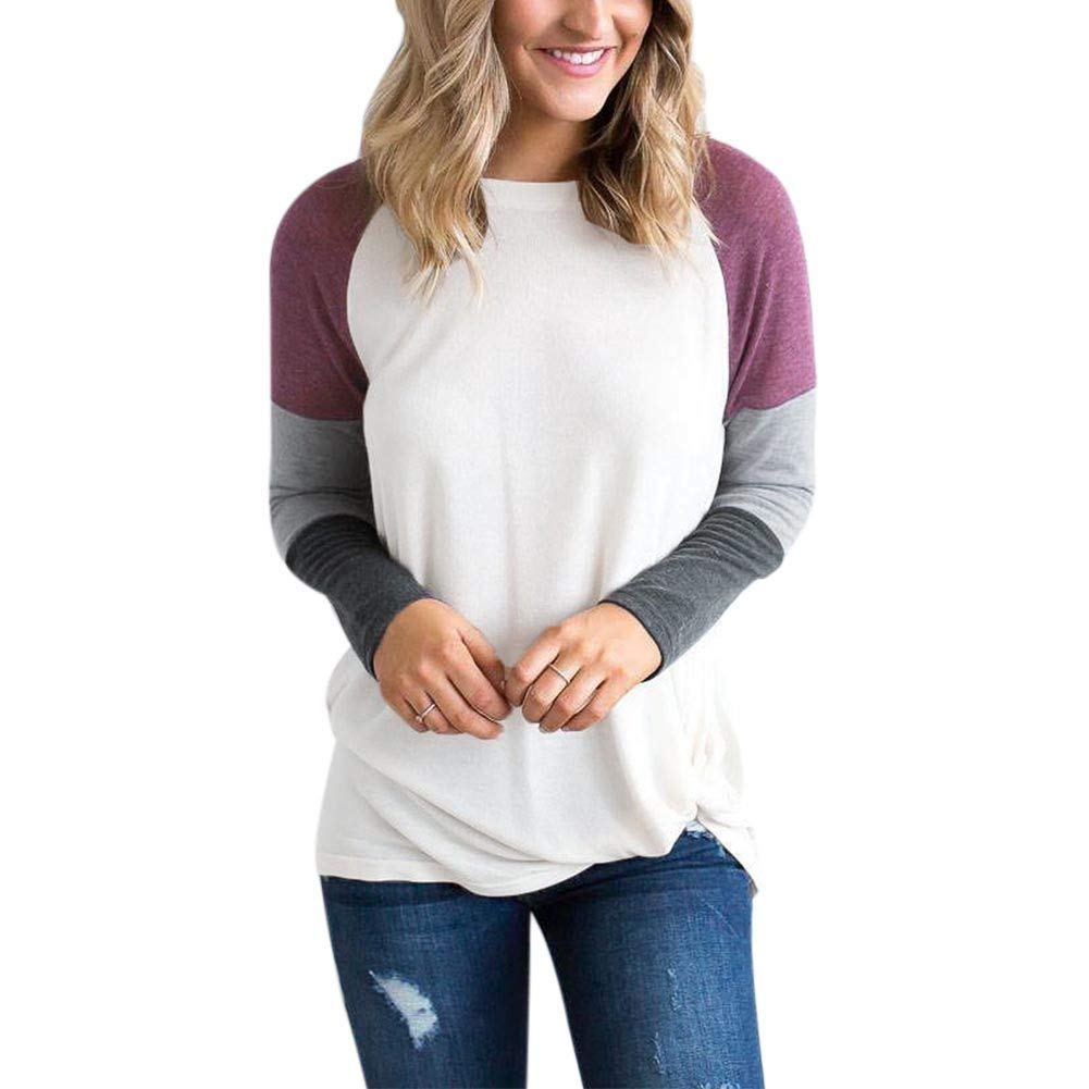 Forart Women's Round Neck Long Sleeve Color Printed Pullover Tops Loose T-Shirt