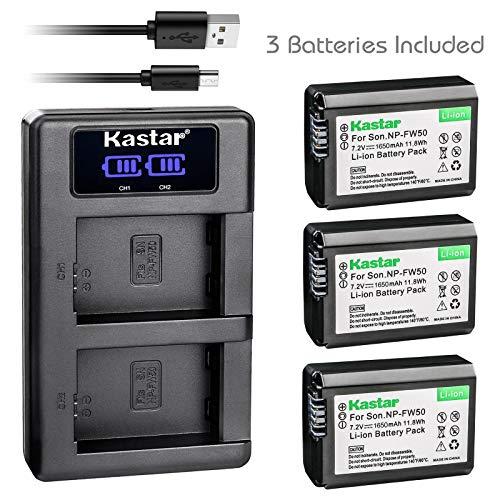 - Kastar USB LCD Dual Charger and 3 Pack Battery for Sony NP-FW50, Sony NEX-6, NEX-7, NEX-C3, NEX-C5, NEX-F3, SLT-A33, SLT-A35, SLT-A37, SLT-A554, Compatible with Camera Grip Models:, VG-C1EM, VG-C2EM