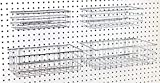 Pegboard Baskets Set of 4 Chrome - Hooks to Any Peg Board - Square Style Wire Shelf Baskets - Organize Tools, Workbench, Accessories, Garage Storage - Wall Organizer Attachments