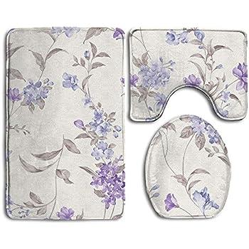 Amazon Com Bath Rug Set Floral Print Purple Lavender
