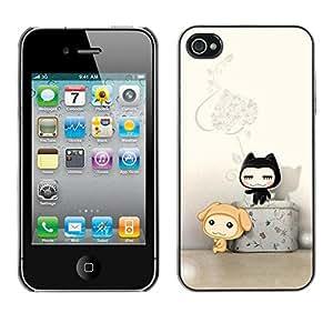 PC/Aluminum Funda Carcasa protectora para Apple Iphone 4 / 4S Cute Cat Friends / JUSTGO PHONE PROTECTOR
