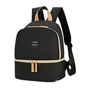 Breast Pump Bag Backpack - Cooler and Moistureproof Bag Double Layer for Mother Baby Bottle Breast Milk Pump Breastfeeding Outdoor Working Backpack (Black)