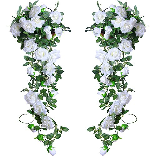 Silk Roses Wedding Flowers - PARTY JOY 6.5Ft Artificial Rose Vine Silk Flower Garland Hanging Baskets Plants Home Outdoor Wedding Arch Garden Wall Decor,Pack of 2 (White)