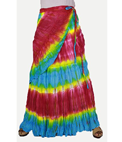 Siam2u Colorful Women's Tie Dye Cotton Ruffle Wrap around Long Free Size Skirt