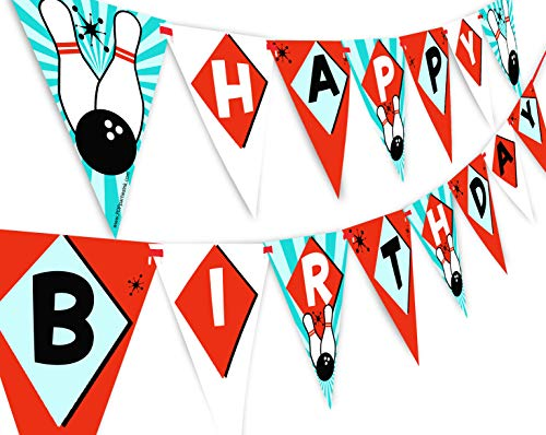 Bowling Birthday Party Supplies (POP parties Bowling Happy Birthday Banner Pennant - Bowling Party Supplies - Bowling Party Decorations - Classic)