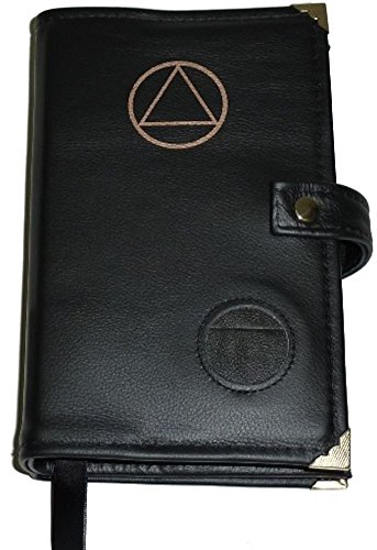 Black Leather Alcoholics Anonymous Big Book Cover AA Symbol and Medallion - Alcoholics Leather Anonymous