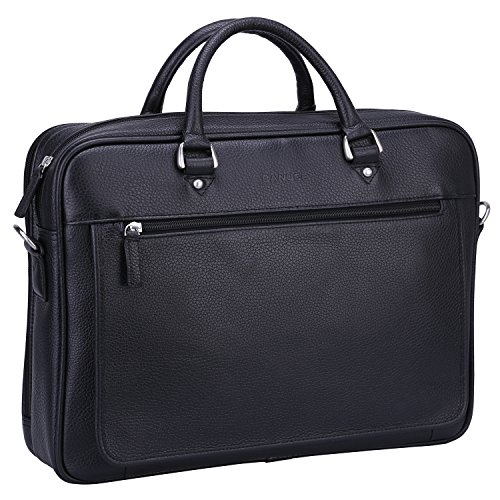 Banuce Soft Black Leather Briefcase for Men Bussiness Executive 14