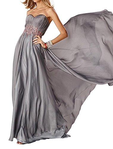 Charm Bridal graceful chiffon sequin summer dress Prom dress Party dresses long -14-Grey by Charm Bridal