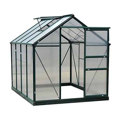 Greenhouse 6' x 8' x 7' Portable Aluminum Frame Polycarbonate Durable Support with ebook by MRT SUPPLY