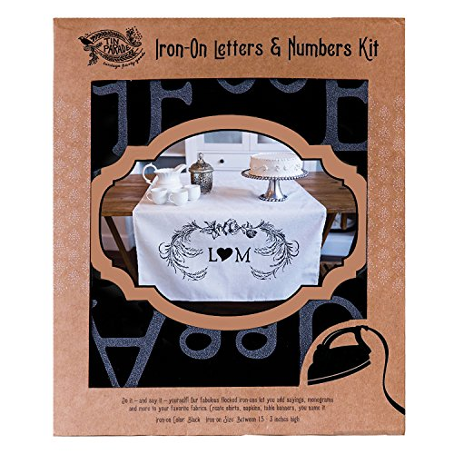 Iron-on Letters and Numbers Monogram Kit, flocked iron ons