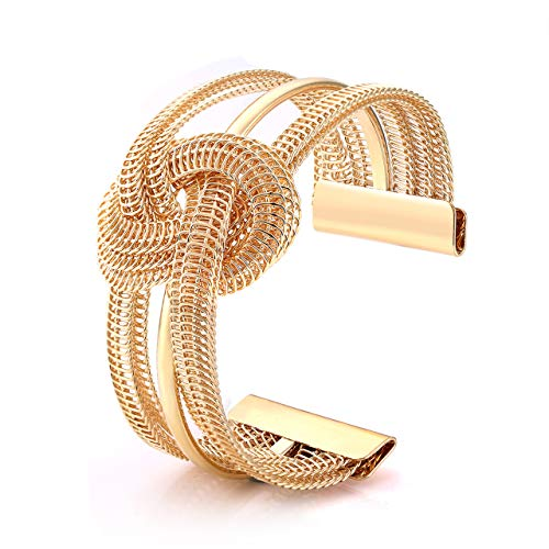 - BSJELL Knot Cuff Bracelet Bangle Gold Metal Twisted Hollow Hoop Open C-Shape Bracelets Cuff Bangle Fashion Jewelry for Women Girls