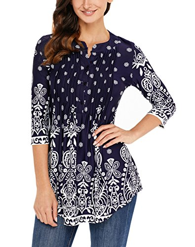 Loose Womens Sleeve up Casual Tops Blouse S Tunic Royalblue Button 3 Floral Printed XXL MANDEKU Shirts 4 zwqdAz7